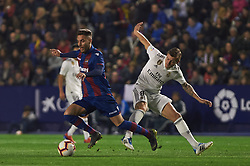 February 24, 2019 - Valencia, Valencia, Spain - Ruben Rochina of Levante UD and Toni Kroos of Real Madrid during the La Liga match between Levante and Real Madrid at Estadio Ciutat de Valencia on February 24, 2019 in Valencia, Spain. (Credit Image: © AFP7 via ZUMA Wire)