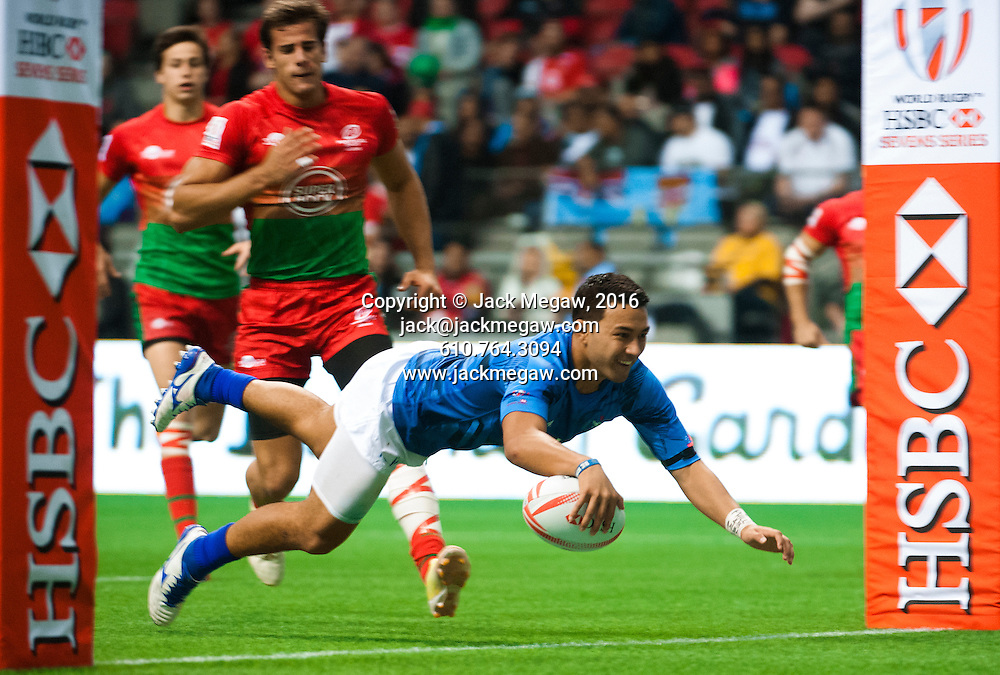 Till Mealoi scores a try against Portugal during the pool stages of the 2016 Canada Sevens leg of the HSBC Sevens World Series Series at BC Place in  Vancouver, British Columbia. Saturday March 12, 2016.<br /> <br /> Jack Megaw<br /> <br /> www.jackmegaw.com<br /> <br /> 610.764.3094<br /> jack@jackmegaw.com