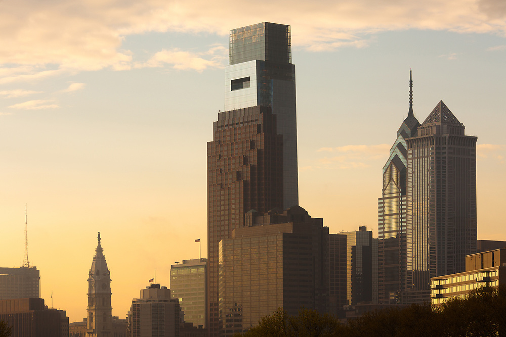 Downtown skyline with City Hall, Philadelphia, Pennsylvania, USA
