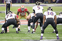 3 February 2013: Linebacker (52) Patrick Willis of the San Francisco 49ers lines up against the Baltimore Ravens during the first half of the Ravens 34-31 victory over the 49ers in Superbowl XLVII at the Mercedes-Benz Superdome in New Orleans, LA.