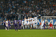 Free kick of TFC during the French Championship Ligue 1 football match between Olympique de Marseille and Toulouse FC on September 24, 2017 at Orange Velodrome stadium in Marseille, France - Photo Philippe Laurenson / ProSportsImages / DPPI