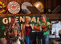 "Rob and Patsy Tacker perform with Duane Johnson during ""Duanefest"" held in Johnson's 133 year old barn on Saturday with family and friends.   (Karen Bobotas/for the Laconia Daily Sun)"