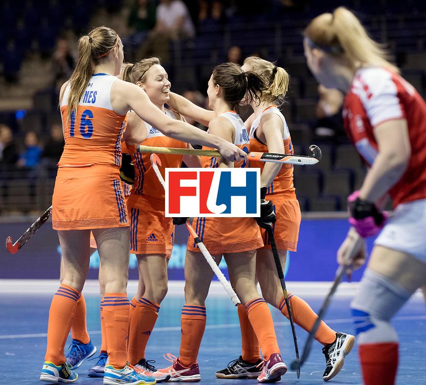 BERLIN - Indoor Hockey World Cup<br /> Women: Netherlands - Switzerland<br /> foto: Netherlands celebrate.<br /> WORLDSPORTPICS COPYRIGHT FRANK UIJLENBROEK