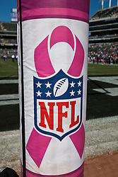 Oct 2, 2011; Oakland, CA, USA; General view of the goal post padding decorated in pink to promote breast cancer awareness before the game between the Oakland Raiders and the New England Patriots at O.co Coliseum. Mandatory Credit: Jason O. Watson-US PRESSWIRE