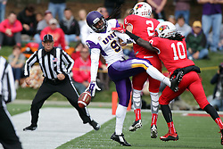 03 October 2015:  Rod Hall(9) can't hang on to a reception as he gets hit simultaneously by Alec Kocour(2) and Davontae Harris(10) NCAA FCS Football between Northern Iowa Panthers and Illinois State Redbirds at Hancock Stadium in Normal IL (Photo by Alan Look)