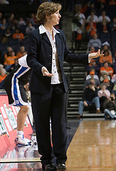 Duke Blue Devils Head Coach Gail Goestenkors   paces the sidelines in action against UVA.  The University of Virginia Cavaliers lost to the #1 ranked Duke University Blue Devils 76-61 at the John Paul Jones Arena in Charlottesville, VA on February 2, 2007.