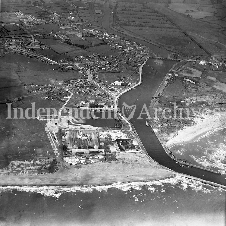 A17(1) Arklow.   29/05/59. (Part of the Independent Newspapers Ireland/NLI collection.)<br /> <br /> <br /> These aerial views of Ireland from the Morgan Collection were taken during the mid-1950's, comprising medium and low altitude black-and-white birds-eye views of places and events, many of which were commissioned by clients. From 1951 to 1958 a different aerial picture was published each Friday in the Irish Independent in a series called, 'Views from the Air'.<br /> The photographer was Alexander 'Monkey' Campbell Morgan (1919-1958). Born in London and part of the Royal Artillery Air Corps, on leaving the army he started Aerophotos in Ireland. He was killed when, on business, his plane crashed flying from Shannon.
