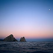 Moonrise in Cabo San Lucas. Baja California Sur, Mexico.