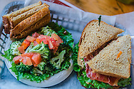 """French Camp's Council House Café is known for its broccoli salad and """"Big Willie"""" BLT, which features 10 strips of bacon and spicy garlic mayonnaise.  (Photo by Carmen K. Sisson/Cloudybright)"""