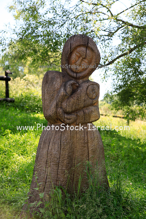 Vlkolinec,  folk architecture reservations. picturesque historical village with traditional wooden houses, Slovakia - UNESCO World Heritage site traditional wood statue