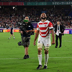 All smiles for Michael LEITCH of Japan after his side wins  the Rugby World Cup match between Japan and Scotland at International Stadium Yokohama on October 13, 2019 in Yokohama, Japan. (Photo by Dave Winter/Icon Sport) - Michael LEITCH - International Stadium Yokohama - Yokohama (Japon)
