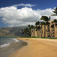 The beach at Kihei, Maui, Hawaii with condominiums.