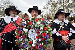 © Licensed to London News Pictures. 28/01/2018. LONDON, UK.  Members of The English Civil War Society, one of the oldest re-enactment groups in the world, bring to life The King's Army (the Royalist half of the English Civil War Society) as they retrace the route taken by King Charles I from St James Palace to the place of his execution at the Banqueting House in Whitehall. Photo credit: Stephen Chung/LNP