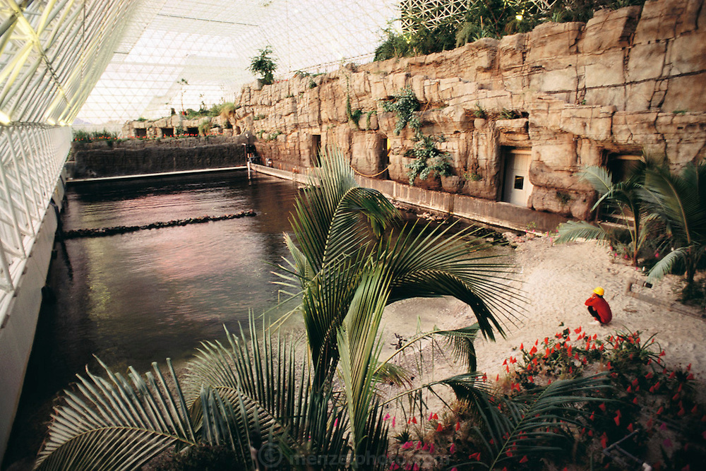 Biosphere 2 Project undertaken by Space Biosphere Ventures, a private ecological research firm funded by Edward P. Bass of Texas.  The Ocean 'biome' provided a source of fish during the two-year duration of the project. Water that evaporated from the surface of the 'ocean' was condensed and filtered to provide fresh water for consumption and to replenish the freshwater stream.  Biosphere 2 was a privately funded experiment, designed to investigate the way in which humans interact with a small self-sufficient ecological environment, and to look at possibilities for future planetary colonization.  1990
