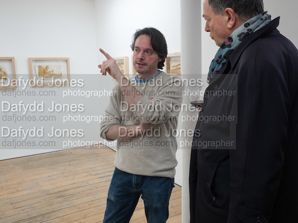 PIERS SECUNDA; PAUL DA SILVA;  Piers Secunda, and Carlos Puente launch event previewing their exhibitions, Shadows of Spain and Circling Skies. Olympus Art Bermondsey Project Space, Bermondsey St. London. 1 March 2016