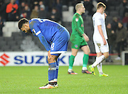 Aaron Amadi-Holloway of Oldham Athletic (10) looks dejected at the end of the game after MK Dons had hit an extra time winner the EFL Sky Bet League 1 match between Milton Keynes Dons and Oldham Athletic at stadium:mk, Milton Keynes, England on 7 February 2017. Photo by Andy Handley.