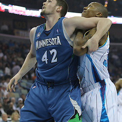 08 February 2009:  Minnesota Timberwolves forward Kevin Love (42) and New Orleans Hornets forward David West (30) fight for position under the basket during a NBA game between the Minnesota Timberwolves and the New Orleans Hornets at the New Orleans Arena in New Orleans, LA.