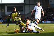 Burton Albion's Darren Bent has his shot blocked by Millwall's Jake Cooper during the EFL Sky Bet Championship match between Burton Albion and Millwall at the Pirelli Stadium, Burton upon Trent, England on 24 February 2018. Picture by John Potts.