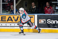 KELOWNA, CANADA - APRIL 3: Riley Stadel #3 of the Kelowna Rockets takes a shot against the Seattle Thunderbirds on April 3, 2014 during Game 1 of the second round of WHL Playoffs at Prospera Place in Kelowna, British Columbia, Canada.   (Photo by Marissa Baecker/Getty Images)  *** Local Caption *** Riley Stadel;