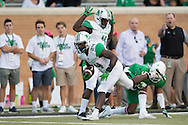 Marshall Thundering Herd running back Keion Davis (24) breaks free against the North Texas Mean Green during the 1st half at Apogee Stadium in Denton, Texas on October 8, 2016. (Cooper Neill for The Herald-Dispatch)