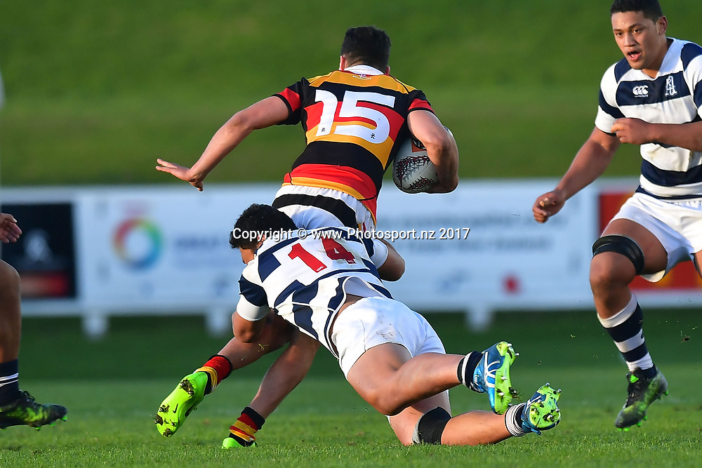 Waikatos Josh Moorby (Top) is tackled by Aucklands Caleb Clarke during the Jock Hobbs Memorial trophy final rugby match between the Auckland and Waikato at Owen Delany Park in Taupo on Saturday the 16th September 2017. Copyright Photo by Marty Melville / www.Photosport.nz