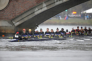 Cambridge, USA, Youth women' eights,   Mt St Joseph Academy approach the John Weeks footbridge during the  2009 Head of the Charles  Sunday  18/10/2009  [Mandatory Credit Peter Spurrier Intersport Images],.