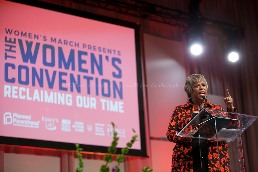 Detroit, Michigan, USA. 27th Oct, 2017. Congresswoman Brenda Lawrence speaks during the Women's Convention held at the Cobo Center, Detroit Michigan, Friday, October 27, 2017