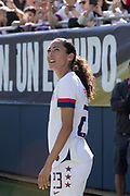 USA forward Christen Press (23) views a replay against South Korea during an international friendly in Chicago, Sunday, Oct. 6, 2019, in Chicago. USWNT tied the Korea Republic 1-1. (Max Siker/Image of Sport)
