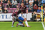 Kilmarnock FC Midfielder Craig Slater is fouled on the attack during the Ladbrokes Scottish Premiership match between Heart of Midlothian and Kilmarnock at Tynecastle Stadium, Gorgie, Scotland on 3 October 2015. Photo by Craig McAllister.
