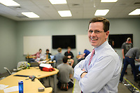 Associate Professor, and Associate Department Head, TECS, Dr. Jeff Joines holds a class on Centennial Campus. Photo by Marc Hall