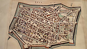 Ancient city map, Lucca, Tuscany, Italy