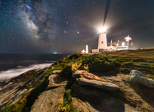The Milky Way Rises Over The Ocean Above Crashing Surf And The Iconic Rocky  Shoreline Of.