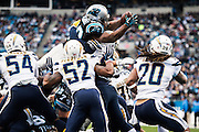December 11, 2016: Carolina Panthers vs San Diego Chargers. Jonathan Stewart scores a touchdown