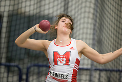 Windsor, Ontario ---2015-03-12--- Helena Reinfels of  McGill competes in the heptathlon shot put at the 2015 CIS Track and Field Championships in Windsor, Ontario, March 15, 2015.<br /> GEOFF ROBINS/ Mundo Sport Images