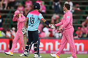 Moeen Ali scores the winning run and shakes hands with Jon-Jon Smuts during the One Day International match between South Africa and England at Bidvest Wanderers Stadium, Johannesburg, South Africa on 9 February 2020.