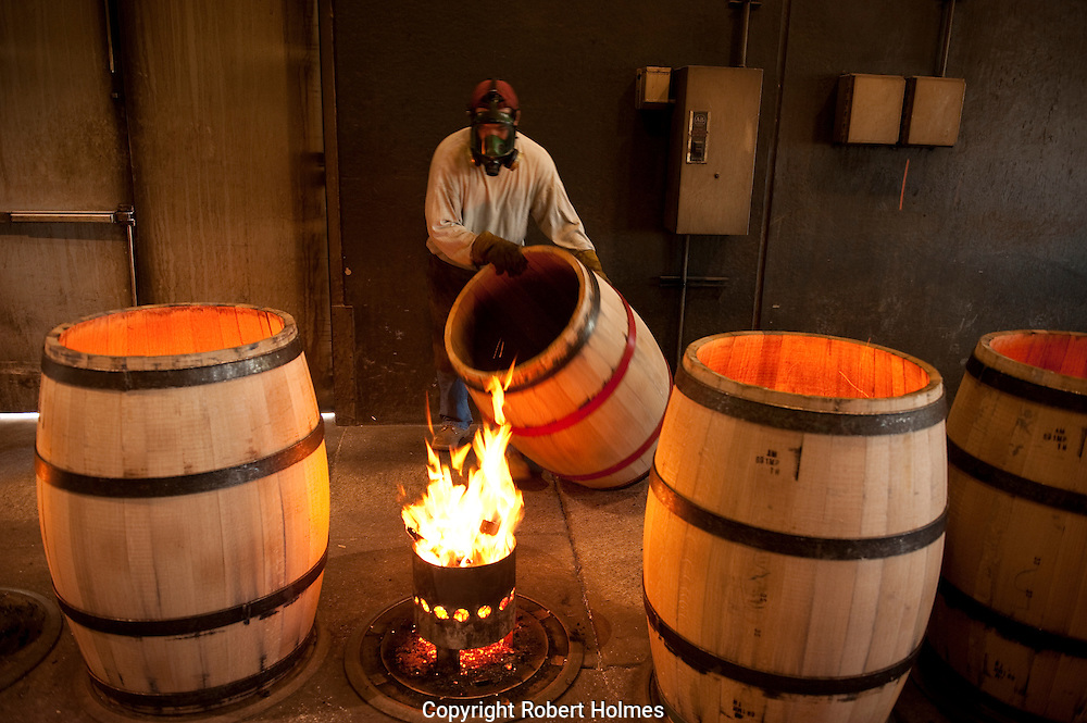 Wine barrels being manufactured at Demptos Cooperage in Napa, California