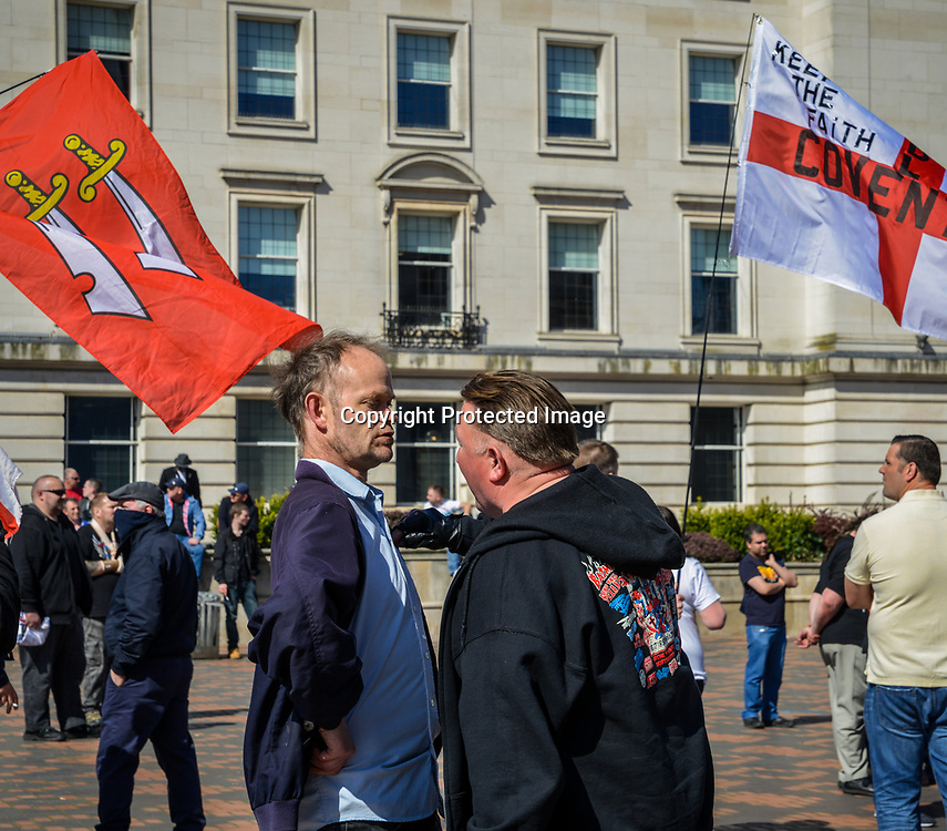 "April 8th, 2017 - Birmingham, UK: On the aftermath of the terrorist attacks in London on March 22nd, the English Defence League (EDF) stages a rally to protest the ""islamisation"" of the UK, amongst other issues"