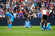 13-09-2015 VOETBAL:FEYENOORD-WILLEM II:ROTTERDAM<br /> teleurstelling bij Willem II na afloop van de wedstrijd met Funso Ojo van Willem II (C) en Stijn Wuytens van Willem II (L) en Dico Koppers van Willem II (R)<br /> <br /> Foto: Geert van Erven