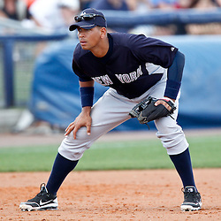 March 21, 2012; Port Charlotte, FL, USA; New York Yankees third baseman Alex Rodriguez (13) against the Tampa Bay Rays during a spring training game at Charlotte Sports Park.  Mandatory Credit: Derick E. Hingle-US PRESSWIRE
