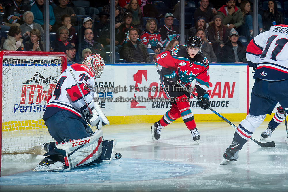 KELOWNA, CANADA - NOVEMBER 17: Stuart Skinner #74 of the Lethbridge Hurricanes makes a third period save on a shot by Jack Cowell #8 of the Kelowna Rockets on November 17, 2017 at Prospera Place in Kelowna, British Columbia, Canada.  (Photo by Marissa Baecker/Shoot the Breeze)  *** Local Caption ***