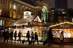 © Licensed to London News Pictures. 16/11/2012. Birmingham, UK. The largest outdoor Christmas Market in the Country has opened in Birmingham. Known as the Birmingham Frankfurt Christmas Market, this will be it's 11th year in the city. It has over 190 stalls, spreads right across the city, through both Victoria and Chamberlain Squares.  The market offers German mulled wine (Gluhwein), grilled sausages, pretzels, German beer, and for those with a sweet tooth, gingerbread, crepes and marzipan sweets. Pictured, The Council House forms the perfect setting for the Christmas Market. Photo credit : Dave Warren/LNP