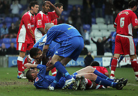 Photo: Paul Thomas.<br /> Macclesfield Town v Swindon Town. Coca Cola League 2. 23/12/2006.<br /> <br /> Macclesfield celebrate John Murphy's (Ground) goal.