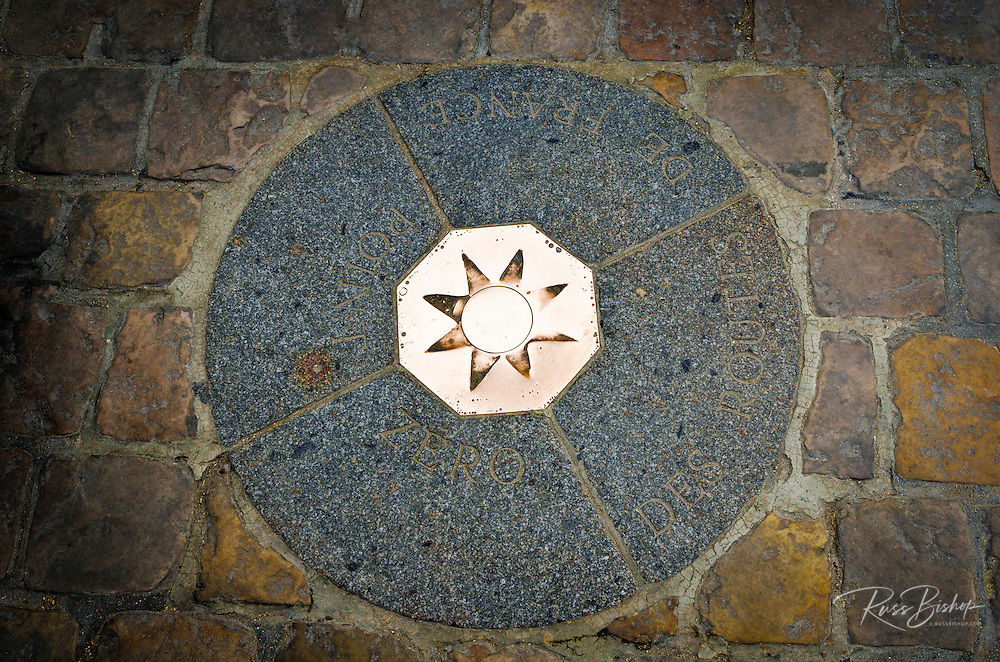 Paris Point Zero at Notre Dame Cathedral (geographical center of France), Paris, France