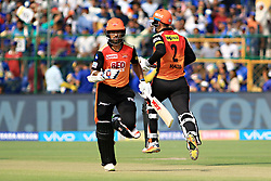 April 29, 2018 - Jaipur, Rajasthan, India - Sunrisers  Hyderabad batsman Shikhar Dhawan and Alex Hales running between the wicket during the IPL T20 match against Rajasthan Royals at Sawai Mansingh Stadium in Jaipur on 29th April,2018. (Credit Image: © Vishal Bhatnagar/NurPhoto via ZUMA Press)