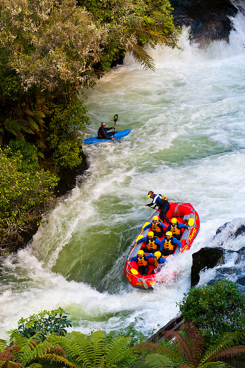 Whitewater rafting on the Kaituna River with River Rats Rafting, near Rotorua on the  north island of New Zealand.