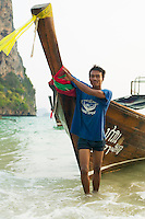 Portrait of Thai Longtail boat driver Railay Beach West Ao Railay South Thailand&#xA;<br />