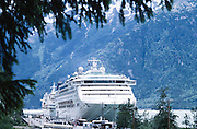 Skagway, Alaska. Dawn Princess cruise ship in skagway harbor.