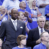 12 June 2012: Former NBA player Alonzo Mourning, Vice President of Player Programs and Development for the Miami Heat, and Miami Heat team President Pat Riley, are seen during the Oklahoma City Thunder 105-94 victory over the Miami Heat, in Game 1 of the 2012 NBA Finals, at the Chesapeake Energy Arena, Oklahoma City, Oklahoma, USA.