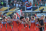 The Netherlands team lift the trophy during the Vitality Hockey Women's World Cup 2018 Finals Gold Medal match between the Netherlands and Ireland, at the Lee Valley Hockey and Tennis Centre, QE Olympic Park, United Kingdom on 5 August 2018. Picture by Martin Cole.