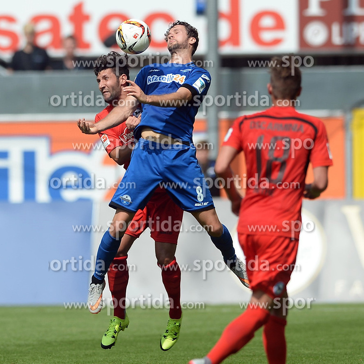 29.08.2015, Benteler Arena, Paderborn, GER, 2. FBL, SC Paderborn 07 vs DSC Arminia Bielefeld, 5. Runde, im Bild Kopfballduell zwischen Nick Proschwitz (SC Paderborn 07) (vorne) und Stephan Salger (Arminia Bielefeld) // during the 2nd German Bundesliga 5th round match between SC Paderborn 07 and DSC Arminia Bielefeld at the Benteler Arena in Paderborn, Germany on 2015/08/29. EXPA Pictures &copy; 2015, PhotoCredit: EXPA/ Eibner-Pressefoto/ Sippel<br /> <br /> *****ATTENTION - OUT of GER*****